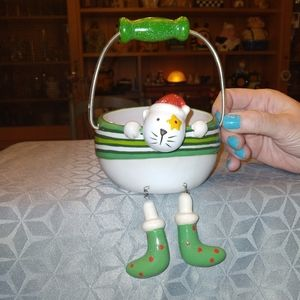 Christmas Cat Holiday Treat Bowl With Handle